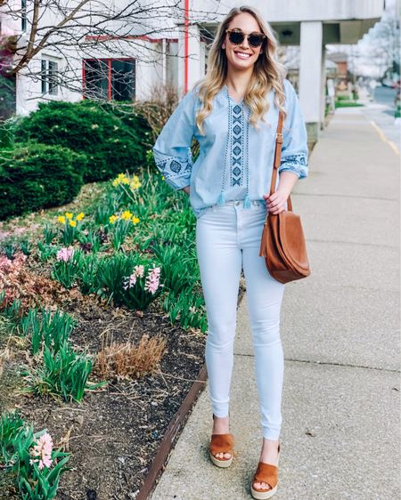 Walmart Spring Style Finds Under $30   @liketoknow.it #liketkit #LTKunder50 #LTKspring #LTKstyletip #LTKshoecrush #LTKitbag #LTKsalealert #LTKunder25   Walmart / spring /embroidered top /embroidered tunic / white jeans / budget / peasant top / spring outfit / spring style /wedges http://liketk.it/2Bgpu