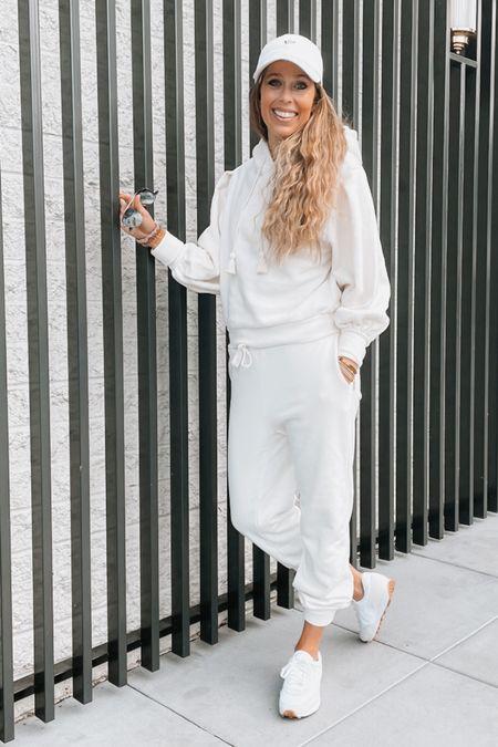 Matching set, travel outfit, white sweats, sneakers, white hoodie, athleisure   #LTKshoecrush #LTKtravel #LTKunder50