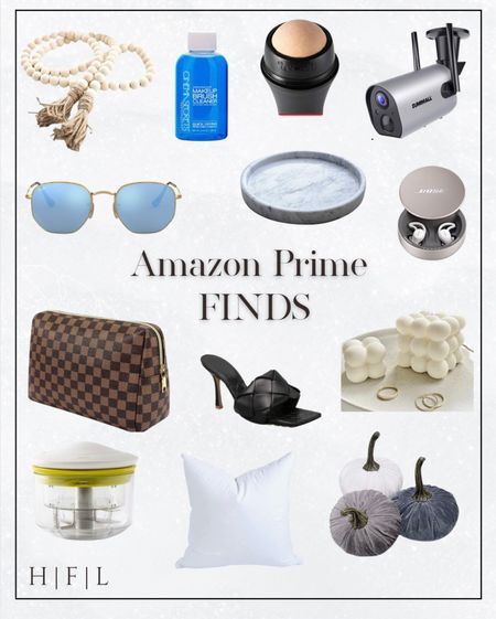 Amazon Prime Finds! Rustic Country Beads, the best make up brush cleanser, Revlon oil absorbing volcanic face roller - must have, wireless outdoor WiFi security camera, ray ban hexagonal sunnies, round marble tray, Bose sleep buds, Louis Vuitton Pouch dupe, Balenciaga black high heel mule dupes, bubble cube candle, food chopper, down pillow insert, velvet pumpkin set, Her Fashioned Life    #LTKGiftGuide #LTKhome #LTKSeasonal