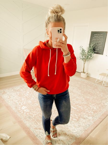 I shared this red hoodie a couple weeks ago, but I've been wearing it a lot lately so I wanted to mention it again. It's $24 and comes in lots of colors. I'm wearing size medium.  #LTKstyletip #LTKSeasonal #LTKunder50