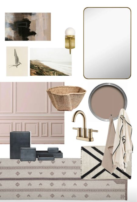 Bathroom mood board, brass bathroom accents, black bathroom accessories, large brass mirror, brass faucet   #LTKhome