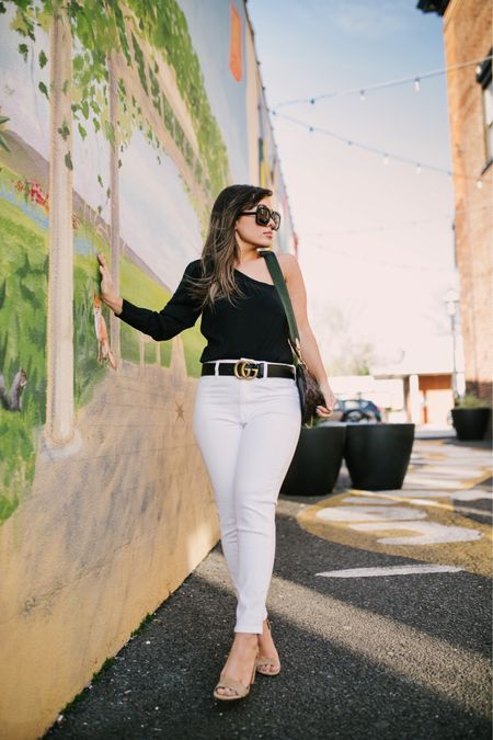 """The new pick up line of 2021: """"Pfeizer or moderna?"""" Let's put this outfit in the what I wear to get vaccinated category 🤣 I'm so excited to pull out my white denim again and of course I am wearing a bodysuit (that's all I wear these days) both my bodysuit and denim is on sale right now- and these are the comfiest heels I own. If you can't walk in heels these are your best bet! http://liketk.it/3dyNK #liketkit @liketoknow.it #LTKunder50 #LTKunder100 #LTKsalealert"""