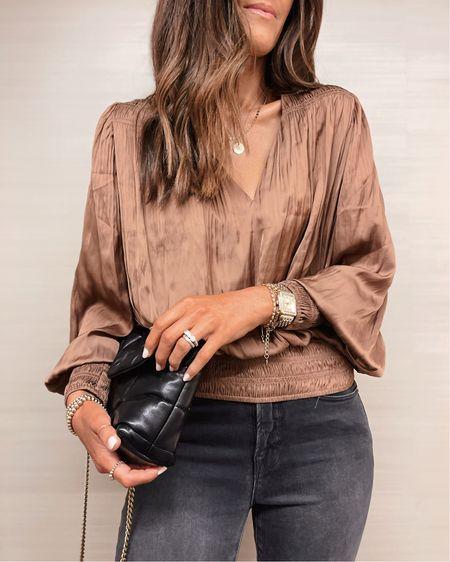 Blouse is 40% off today! Holiday style, date night style, blouse, jeans, YSL puffer, StylinByAylin   #LTKSeasonal #LTKsalealert #LTKstyletip