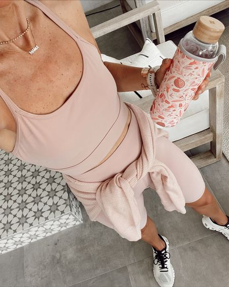 Blush workout set (wore for a hike this morning) from varley… super soft, longer inseam, and don't have to pull up or down on biker shorts: pieces run true to size. //   #LTKfit