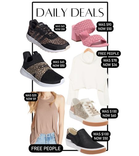 Daily deals! Leopard adidas sneakers on sale, Steve Madden braided sandals, free People tank top, free people pullover, dolce vita slip on sneakers, dolce vita fashion sneakers, transition to fall, summer outfits, fall outfit   #LTKshoecrush #LTKsalealert #LTKunder100