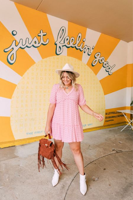 Pink dress that can transition from summer to fall— just throw on a cardigan!   #LTKunder50 #LTKSeasonal #LTKstyletip
