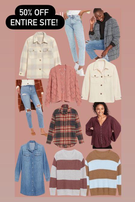 Old navy fall fashion 50% off Sweaters Shackets Jeans   #LTKSeasonal #LTKsalealert #LTKstyletip