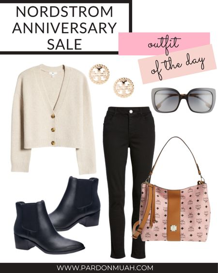 Nordstrom anniversary sale in stock outfit of the day! Pair black jeans with booties and a neutral cardigan for a casual fall look.   #LTKunder100 #LTKstyletip #LTKsalealert