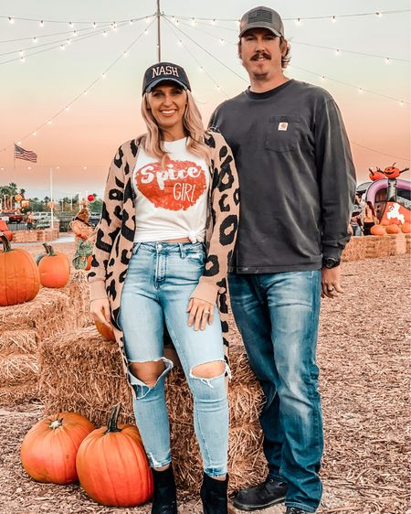 Bring on all the pumpkin patch fun 🎃linked my leopard print cardigan as well as my fall pumpkin spice graphic tee! My nash trucker hat is from a small business on Etsy   #LTKHoliday #LTKmens #LTKSeasonal
