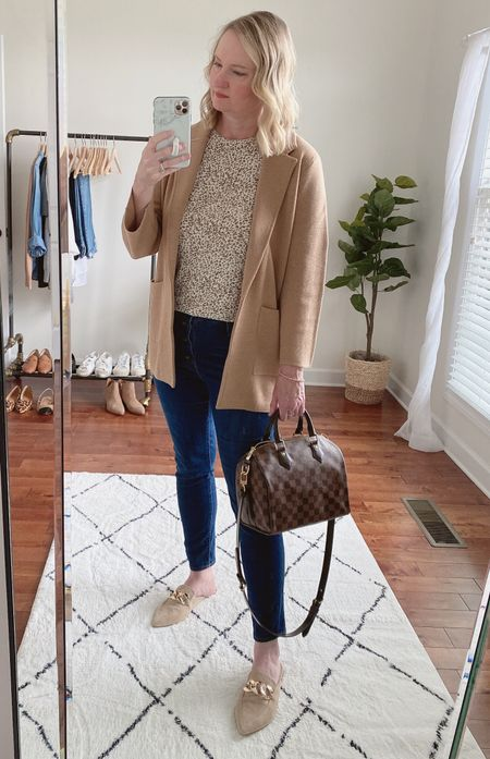 An easy outfit formula: jeans, tee, mules & sweater blazer.  I was looking for a leopard pattern tee when I was building my Fall capsule wardrobe, but couldn't find one.  Then, when we were on vacation last week, I saw this one at Old Navy and I had to buy it!  It's their Luxe tee, which is soft and drapes well.  Shop this post on the@shop.ltkapp and follow @classyyettrendy on the app! Everything is also linked here ➡️ https://classyyettrendy.com/instagram-shop/  #capsulewardrobe#smartcasual#whatiamwearing#effortlessstyle#effortlesschic#dailyoutfit#outfitstyle#mystyle#minimaliststyle#elegantstyle#mystylediary#outfitinspirations#dailyfashion#realoutfitgram#wiwtoday#howtostyle#howtowear#parisianstyle#parisiennestyle#parisianchic#simplestyle#simplelook#neutralstyle#neutralaboutit#classicoutfit #classicstyle    #LTKunder100 #LTKunder50 #LTKstyletip