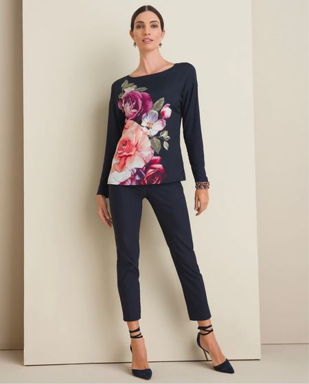 Gorgeous floral tee in navy. The perfect dress up or down look from Chico's!   #LTKstyletip #LTKunder100 #LTKsalealert
