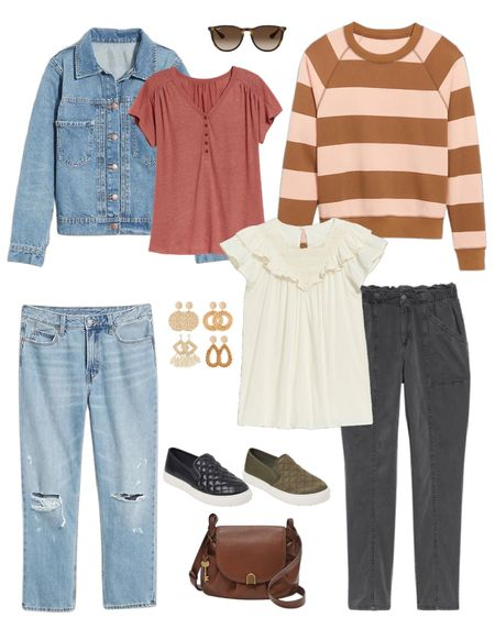 Fall fashion ideas. I love this color palette. Old Navy sale 🚨 Walmart find shoes, fossil bag   Distressed jeans, cozy stripe sweatshirt, denim jacket  #ltkitbag #ltkshoecrush   #LTKsalealert #LTKbacktoschool #LTKfit