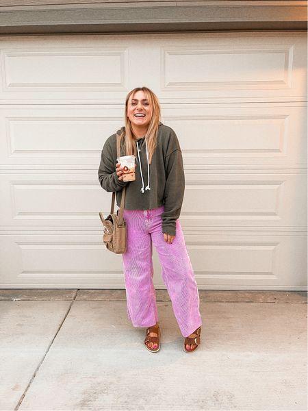 Flare wide leg corduroy pants Crop sweatshirt Target finds Fjallraven crossbody bag   #LTKunder100 #LTKstyletip #LTKSeasonal