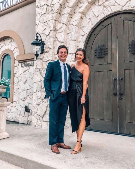 Wedding guest outfit Black silk slip dress - tts (from petal & pup - not linkable) Black strappy heels - tts Men's brown dress shoes - tts  http://liketk.it/2K7Ud #liketkit @liketoknow.it #LTKwedding #LTKunder100 #LTKshoecrush