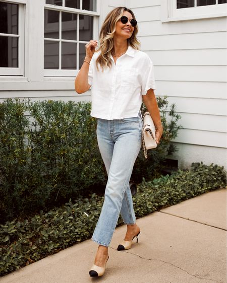 The perfect denim with the perfect button up top! (On Sake) Elevated basics, everyday outfit, straight leg denim, Her Fashioned Life   #LTKsalealert #LTKSeasonal #LTKunder100