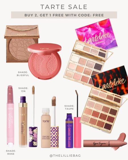 Tarte sale!! Buy 2, get 1 FREE! Code: Free. Free shipping, too! All my favorite products included. Mix and match - all shades included! Creaseless Concealer shade 13N. Brow gel shade taupe. Juicy lip shade Rose. Blush shade Blissful. Favorite eye palettes. Makeup sale. @tartecosmetics #tartepartner   #LTKunder50 #LTKbeauty #LTKsalealert