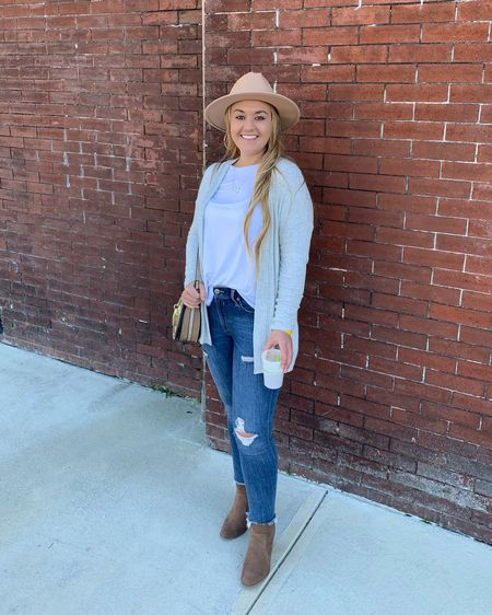 White long sleeve tee with a light gray cardigan with pockets paired with light distressed jeans, brown heeled ankle boots and tan wide brim hat    http://liketk.it/2GKuW #liketkit @liketoknow.it #LTKshoecrush #LTKunder50 #LTKitbag