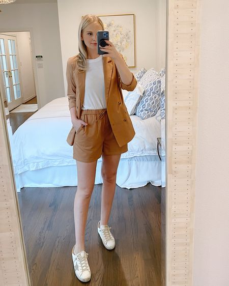 This amazing short suit is under $100 + the perfect transitional color to wear from summer into fall! I'm wearing a small in the blazer and medium in the shorts. http://liketk.it/2TDXU @liketoknow.it #liketkit #LTKunder100 #LTKunder50 #LTKshoecrush