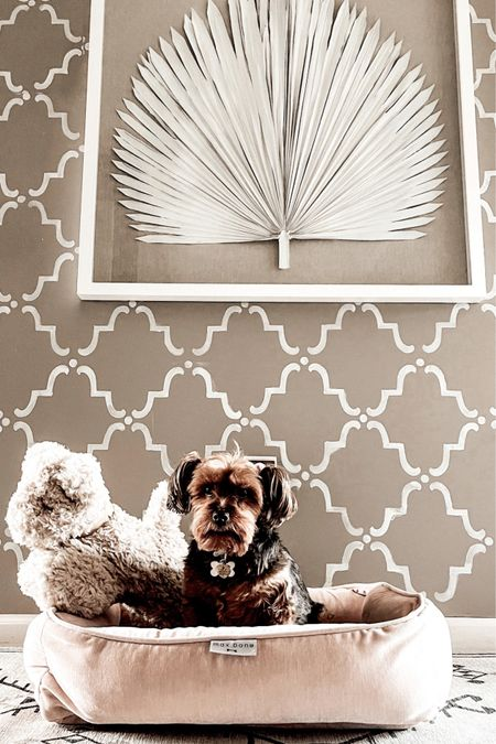 """max-bone Dream Catcher Dog Bed in Dusty Rose. Pottery Barn white palm leaf wall art. Pottery Barn dog shaped pillow. Ruggable washable rug runner.  Pet beds. Neutral home decor.  Save 15% off your max-bone purchases with discount code """"LINDSEYANDCOCO"""" at checkout.   #potterybarn #ltkpets   #LTKfamily #LTKhome"""