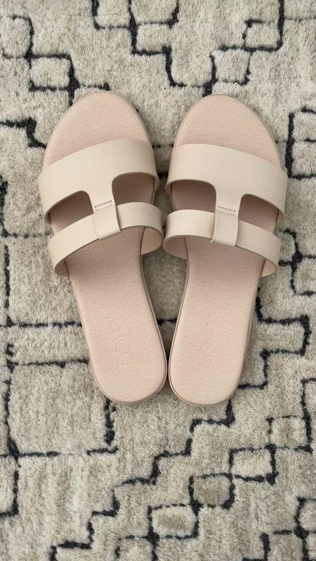 Comfy slide sandals are true to size and available in other colors.   #LTKunder50 #LTKshoecrush #LTKsalealert