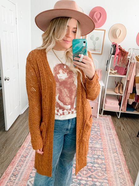 Rust cardigan, Stevie Nicks graphic tee this week, Target style, fall outfit, boho outfit  #LTKSeasonal #LTKunder100 #LTKunder50