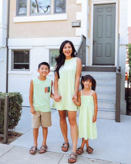 Neon outfit for the family for summer neon dress, tank and Birkenstock sandals   #LTKkids #LTKunder100 #LTKfamily