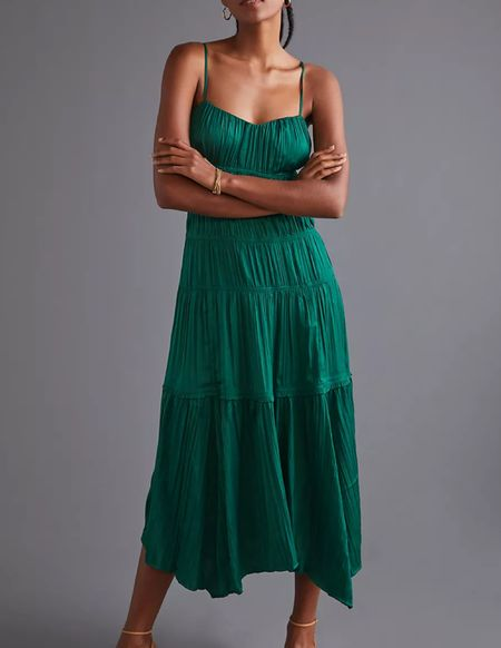 Green ruched slip dress   #LTKwedding #LTKHoliday #LTKSeasonal