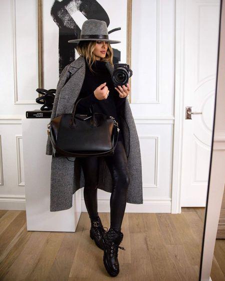 Casual fall outfit Plaid coat Spanx Faux Leather Leggings  Chanel combat boots   #LTKstyletip #LTKshoecrush #LTKSeasonal