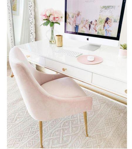 White and pink office  Desk  Office decor   #LTKhome #LTKSeasonal #LTKbacktoschool