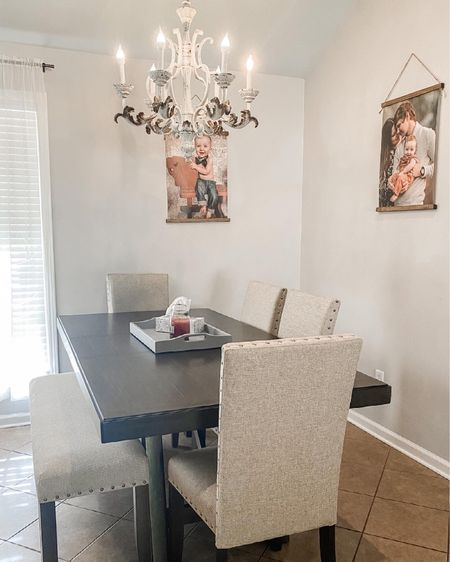 Slowly turning our house into a home! I can't wait to spruce up this whole area, but for now I wanted to share our new dining set. 😍 We are certainly proud of it, and I can't wait to make memories with my boys sitting here. #LTKhome #LTKfamily http://liketk.it/3fJW7 #liketkit @liketoknow.it