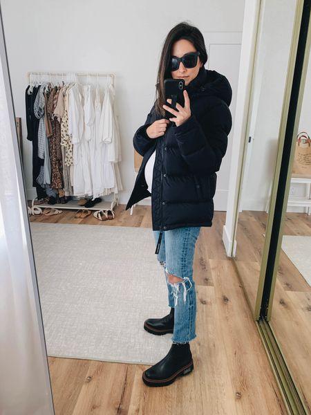 Petite-friendly lug boots. Weather proof lug boots.  Coat- Aritzia xs Jeans- Levi's 24 Boots- Sam Edelman 6 (need the 5.5) Sunglasses- Quay   #LTKshoecrush #LTKbump #LTKSeasonal