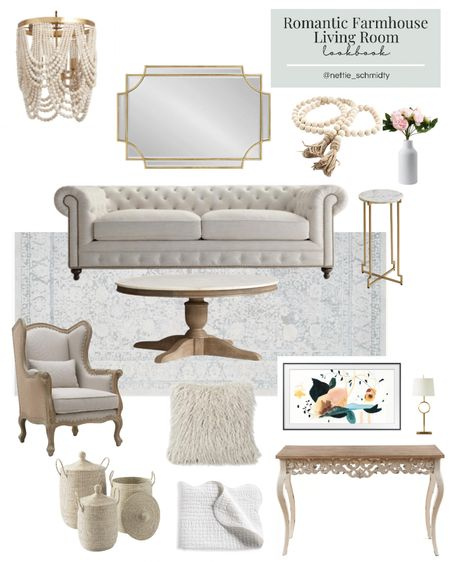 Romantic Farmhouse Living Room Decor 🤍 Inspiration for a neutral modern family room, living space or den with large tufted couch, gold wall mirror, beaded chandelier, marble coffee table, antiqued console table, sea grass floor baskets, gold table lamp and other gold accent decor. Stay tuned for more farmhouse living room lookbooks every Wednesday this month!  .  You can instantly shop all of my looks by following me on the LIKEtoKNOW.it shopping app http://liketk.it/3jazx #liketkit @liketoknow.it #LTKunder100 #LTKstyletip #LTKhome @liketoknow.it.home