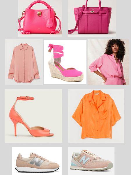 @liketoknow.it #liketkit http://liketk.it/3hQba orange and pink edit. Satin shirt, new balance trainers. Wedge espadrilles, leather high heels. Mulberry pink leather bag