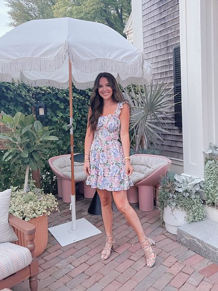 Yumi Kim floral mini dress, runs true to size. Valentino Rockstud sandals dupe! Perfect outfit for a summer wedding!   #LTKwedding #LTKSeasonal #LTKunder100