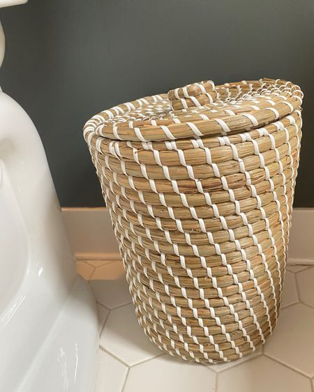 Bc bathroom trash cans should have lids! This woven trash can is a great dupe to the Serena and lily one for just $19 http://liketk.it/3eHVN #liketkit @liketoknow.it #LTKhome #LTKunder50 #LTKunder100