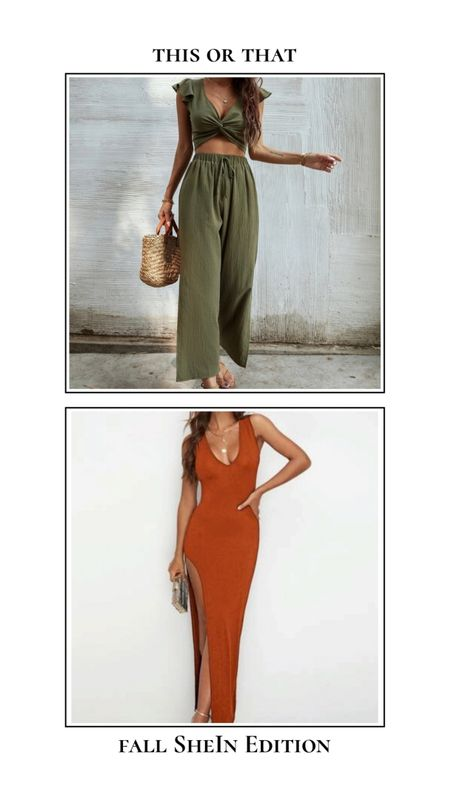 Fall SheIn finds - This or that. Two piece set or dress? Olive green two piece pants set and orange fitted slit maxi dress. Find these items and more at SheIn for under $25! http://liketk.it/3ncYU @liketoknow.it #liketkit #LTKSeasonal #LTKtravel #LTKunder50