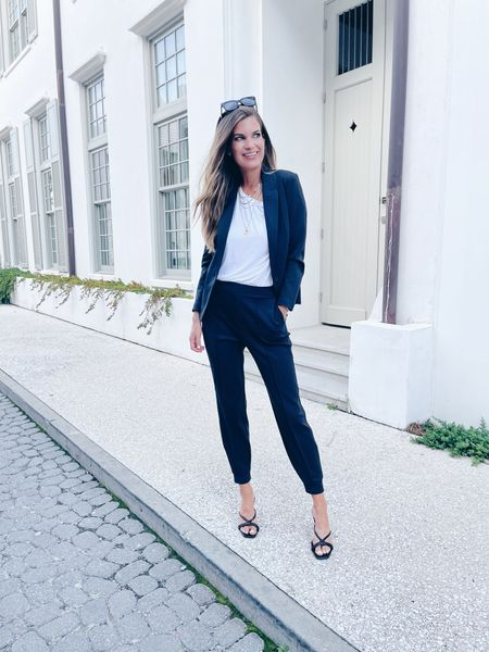 Business casual!  I'm obsessed with a workwear jogger!  Wearing xs in these pants and blazer.  The tee is slouchy in my usual size (xs).    #liketkit http://liketk.it/3klAh @liketoknow.it #LTKsalealert #LTKunder50 #LTKworkwear   #LTKworkwear #LTKsalealert #LTKstyletip