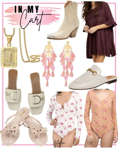 In my cart - free people floral waffle knit thermal bodysuits on major sale!!! Free people take a spin tunic on major sale! Amazon initial necklace, tassel earrings, Gucci mule dupes, rockstud sandal dupes. Shein dior sandal dupes. Free people brayden western cowboy boots. Going to size up in the bodysuits based on reviews on free people website       #LTKsalealert #LTKunder100 #LTKunder50