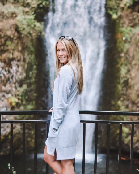trippin' on skies, sippin' on waterfalls 🐿 this sweatshirt dress made for the comfiest travel outfit to Oregon + it's on sale! There's also a new blog post up today with all my September favorites - head to AmandasOK.com to read! @liketoknow.it #liketkit #LTKsalealert #LTKunder50 http://liketk.it/2xtsZ