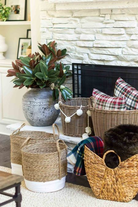 Having these storage baskets on hand are a great tip for holiday prep. Home decor organization idea pillow storage holiday decor living room decor magnolia stem Walmart find  #LTKHoliday #LTKunder50 #LTKhome