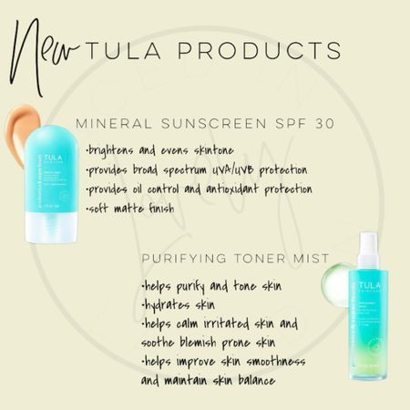 Tula skincare just came out with 2 new products! Mineral sunscreen spf 30 and a purifying toner mist.  Both products are cruelty free, paraben free,  sulfate free, phthalates free, and free of many more harmful ingredients!  You can use code LACEDINLOVELY for 15% off.   #LTKbeauty #LTKstyletip #LTKunder50