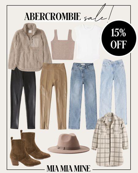 Abercrombie sale picks - take 15% off plaid shacket, 90s denim, faux leather leggings and more  #LTKsalealert #LTKunder100 #LTKSeasonal