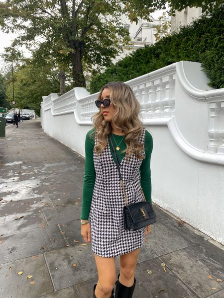This Lorna Luxe In The Style 'Miss Kate' houndstooth dress is such a staple for autumn. I love it layered with this top underneath and paired with knee high boots. These ASOS ones are real leather and a small heel making them perfect for everyday   #LTKeurope #LTKunder100 #LTKunder50