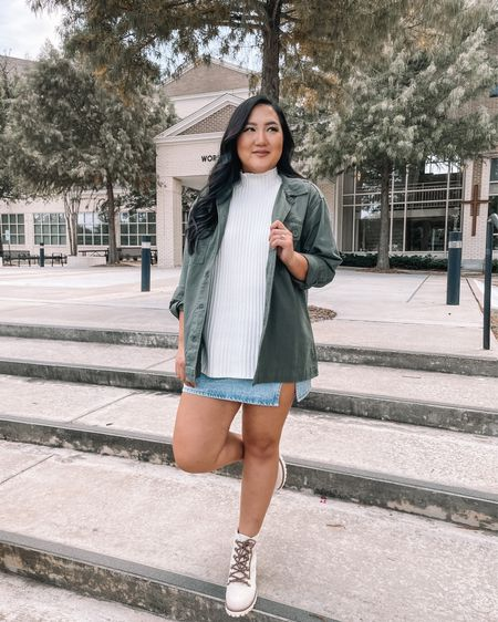 Fall outfit inspo with the cutest combat boots!! This whole look is so affordable including this mock neck sleeveless sweater under $20!!   #LTKshoecrush #LTKunder50 #LTKSeasonal