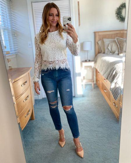 White lace shirt, ripped jeans, nude heels, gold jewelry  http://liketk.it/30PQZ #liketkit @liketoknow.it #LTKunder50 #LTKstyletip