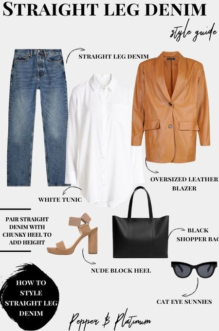 How to style straight leg jeans:  leather blazer, sandals, sunglasses, black tote, white tunic.
