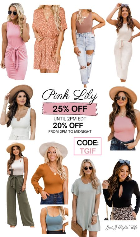 Pink Lily Boutique SALE! 25% off until 2pm EDT and 20% off from 2pm to midnight. Works sitewide! CODE: TGIF. New summer to fall transition pieces. Dress, distressed mom jeans, tank tops, sage green, bodysuit, and more! http://liketk.it/3jS7C @liketoknow.it #liketkit #LTKsalealert #LTKstyletip #LTKunder50 #LTKunder100 #LTKfit #LTKworkwear