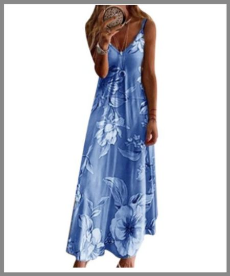 Long maxi dress from Walmart. blue floral sleeveless dress.  #LTKSeasonal #LTKunder50 #LTKunder100