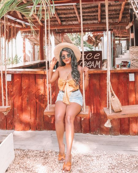 Swinging around in Tulum 💫 This was easily one of my favorite things to do in Tulum, there is literally a cute swing at every corner 🧡 . , Shop the vacation babdeau tops Under $10 1️⃣ http://liketk.it/3e6yV  2️⃣ link in bio   #liketkit #LTKunder50 #LTKstyletip #LTKsalealert @liketoknow.it #tulum2021