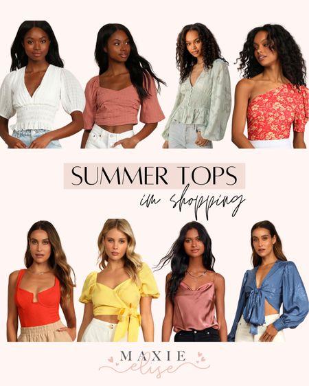 Summer Tops I'm Shopping From Lulu's ☀️  #summertops #lulus #lulusfashion #wraptop #croptop #whitetop #summerfashion #currentlyshopping #lulustop  #LTKunder100 #LTKSeasonal #LTKstyletip